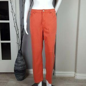 Coldwater Creek Orange Stretch Denim Jeans Sz 16P